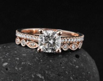 Moissanite Engagement Ring - 4 Prong Setting - Forever One Moissanite, Wedding Band Set