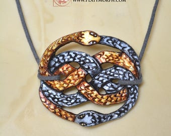 Atreyu's Auryn The Neverending Story Inspired Ouroboros Leather Talisman Amulet Pendant Necklace