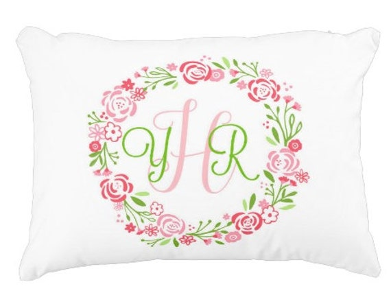 Custom Monogram Pillow Case - 9 colors,  Preppy Monogram Pillow Gift, Nursery Accent Pillow, Dorm Decor, Shabby Chic Floral Wreath