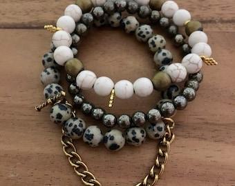 Dalmatian Jasper Pyrite White Turquoise Howlite Beads Gold Bracelets Stack Handmade Beaded Jewelry Chain Charm
