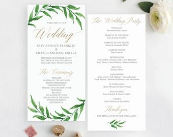 Golden Greenery Wedding Programs Template - Printable Wedding Program -  Wedding Program Printable - Editable Program - Instant Download