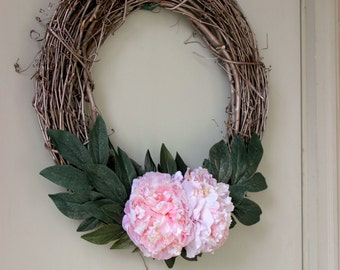 Champagne Gold and Pink Wreath
