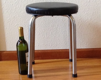 Vintage Chrome and Black Vinyl Stool, Kitchen Stool, Round Stool, Step Stool, Bench