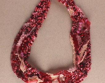 Pink and Red Beadwork Necklace Freeform Peyote Stitch Necklace