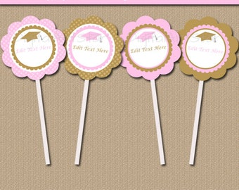 Pink and Gold Graduation Party Decorations, Pink and Gold Graduation Decoration, Girl Graduation Cupcake Picks, Pink Cupcake Toppers G6