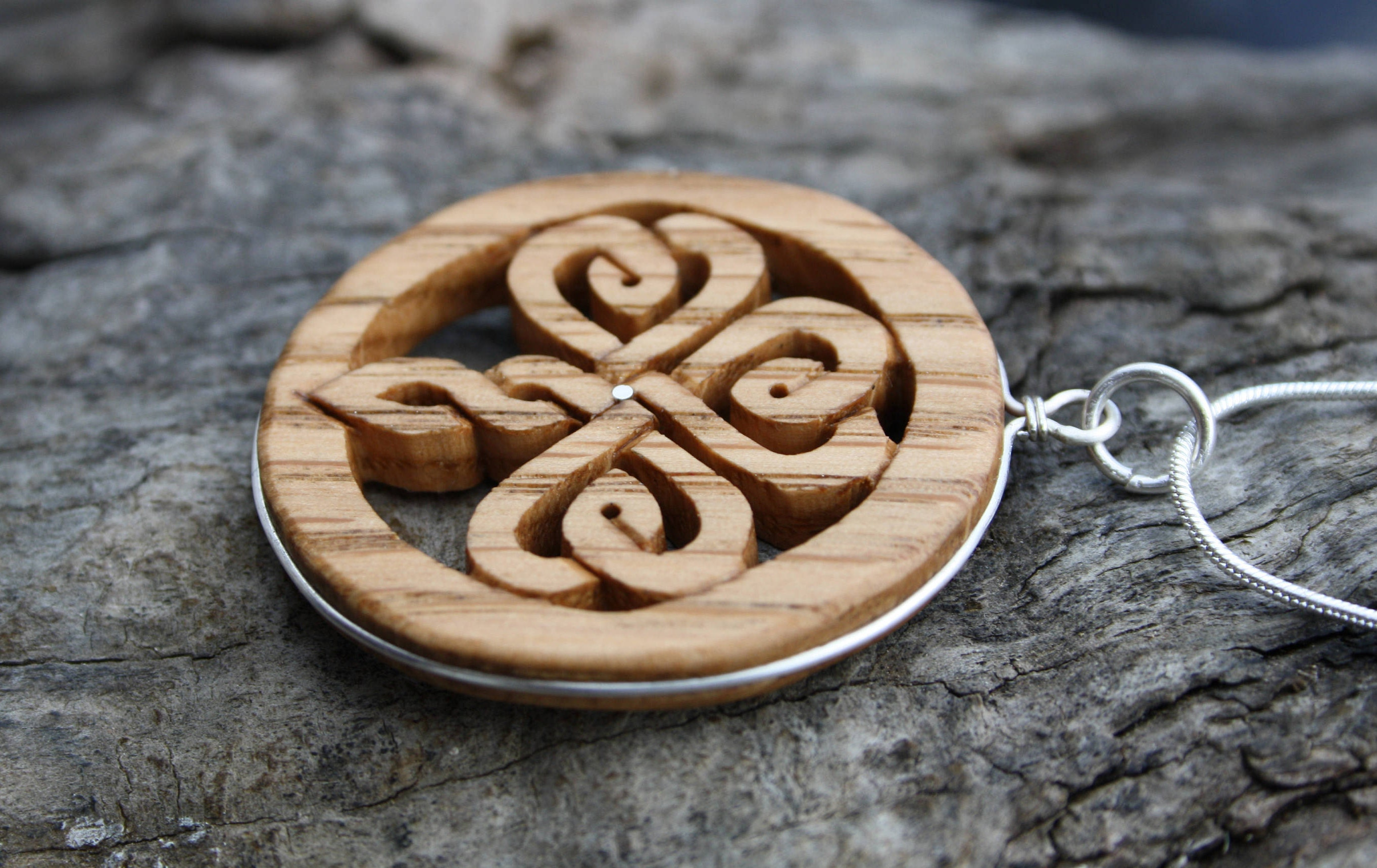 necklace carving wood triquetra carved pendant pin and hand