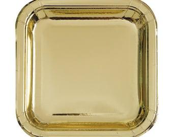Metallic Square Gold Foil Paper Plates/ Shiny Gold Square Paper Plates/ Gold Party Supplies/ Gold Square Plates
