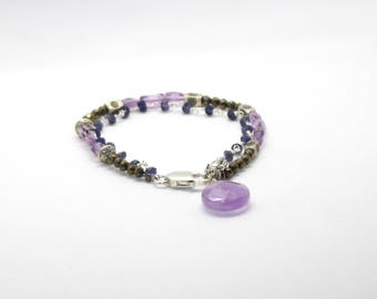 Iolite Stone, Amethyst and pyrite bracelet with sterling silver lobster clasp