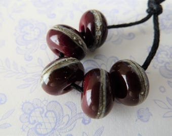 lampwork deep red glass beads, uk handmade wrapped set