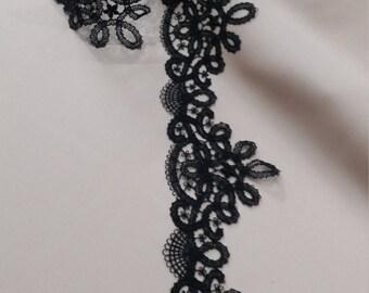 Black lace Trimming, French Lace, Alencon Lace, Bridal gown lace, Wedding Lace, Garter lace, Evening dress lace, Lingerie Lace yard FL47908
