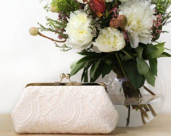 Blush Alencon Paisley Lace Clutch | Bridal Clutch | Personalized Gift for Mom