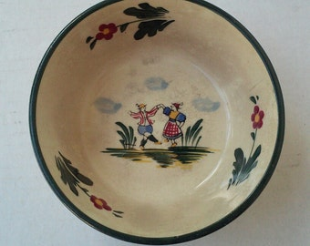 RARE Vintage Bowl w/ Dutch Children Dancing Colorful Hand Painted