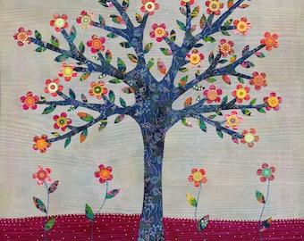 Tree Painting, Collage Tree, Mixed Media Art Print on Wood