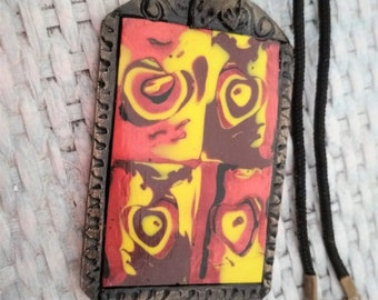 Hearts in brown and yellow shades, rectangular shaped necklace