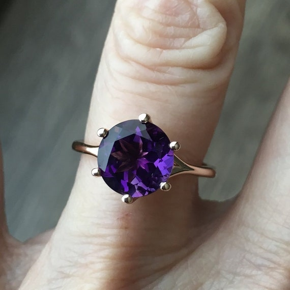 Amethyst Rose Gold Statement Ring Six Prongs