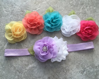 Choose colors headband, Baby Hair Bow, flower headband, baby headband, shabby chic roses, baby girl headband, hair bows