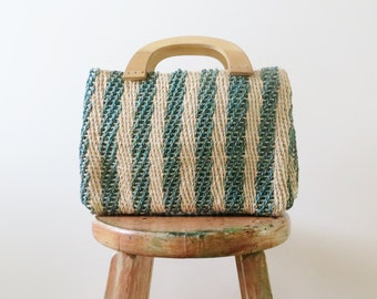 70s Jute Market Handbag with Wood Handles Jute Green Stripes Boho Hippie