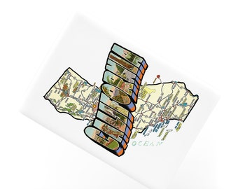 Ceramic Fridge Magnet, California Map Vintage Style San Francisco Los Angeles Fridge Magnet,Refrigerator Magnet, FM196