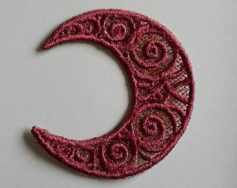 UK Crescent moon lace applique, trimming, card topper, patches, lunar goddess altar