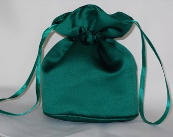 Bottle green satin dolly bag. Ribbon drawstring, wrist purse, wedding bag for bride/bridesmaid Bridal UK Seller