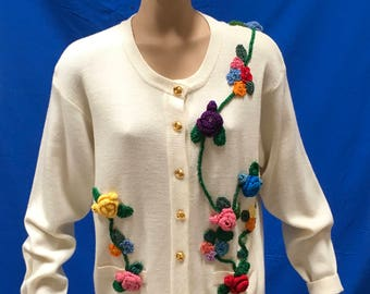 Floral Sweater Size XL Lambswool Cardigan Off White Flower Crochet Top Hipster Boutique Robert Scott