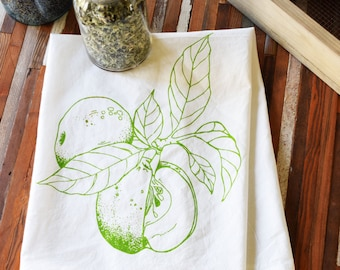 Tea Towel - Screen Print Tea Towel - Apple Tea Towel - Tea Towel Flour Sack - Dish Towels - Organic Cotton - Flour Sack Towels - Boho Decor