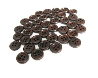 Mini Wood button - Dark Brown 4 Holes Wooden Sewing Buttons 11mm - set of 36 (BB101A)