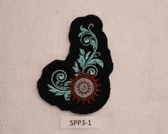 Embroidered Iron On Patch - Gear Floral - SteamPunk - SSP3-1 - FREE SHIPPING in US