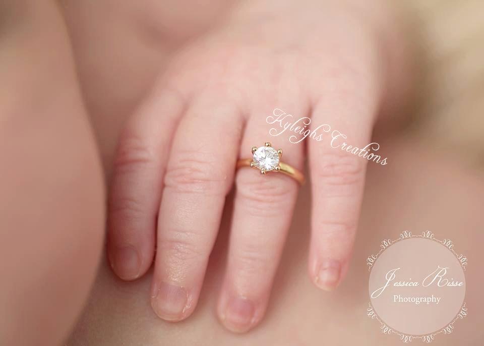Newborn gold diamond ring gold baby ring newborn props