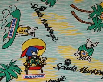 Vintage 80s Fabric - Spuds MacKenzie Dog Bud Light Budweiser Beer LAST PIECE