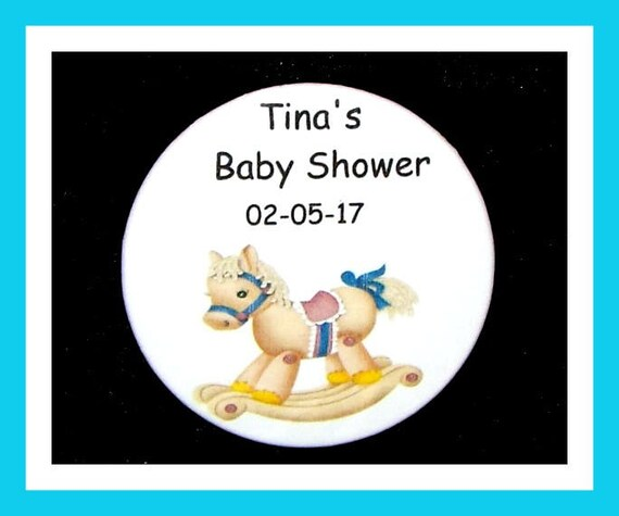 Baby Shower Rocking Horse Pin,Personalized Button,Favor Tag,Its a girl,Its a Boy,PartyFavor,BirthdayParty Favor,Personalized Favor,Set of 10