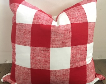 Red and White Gingham Checkered Pillow with Down Feather Insert