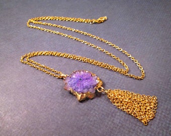 Gemstone Necklace, Purple Quartz Slice Pendant, Gold Chain Tassel Necklace, FREE Shipping U.S.