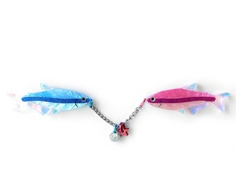 "PRE ORDER Pisces ""Two Fish"" Star Sign Horoscope Laser cut acrylic brooch Pink and Blue Cardigan Clip with charm"