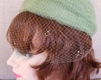 "Vintage Women's Green Mesh Hat ""Loffel"" San Francisco"