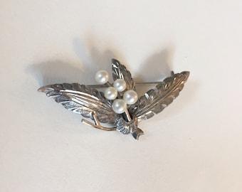 Vintage Silber Blättern und Beeren Perle Brosche