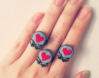 Mini Hand Embroidered Red Heart Ring