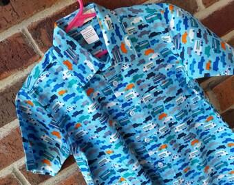 Organic Cotton Toddler or Youth Boys Handmade Button Down Shirt - Cars Trucks Transportation on Blue - Fahrzeug 3156