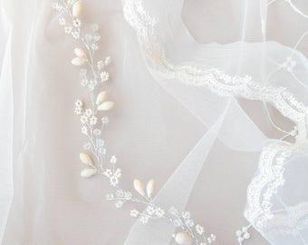 TINY BEADS | Soft floral bridal hair vine, wedding tiara, bridal headpieice