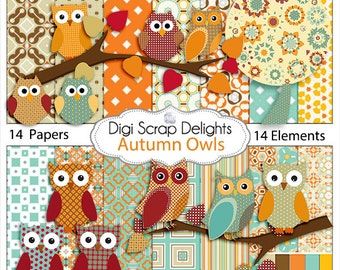 Autumn Owl Clip Art - Owls Scrapbook Kit,  Instant Download- Digital Papers for Party Invites, Cards, Orange, Brown, Blue, Red, Green