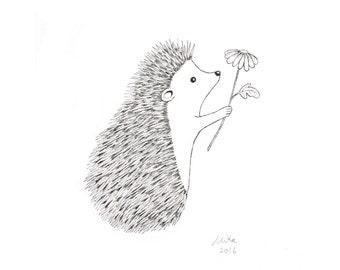 Hedgehog Gift Hedgehog Drawing Hedgehog Print Black & White Wall Art Woodland Nursery Wall Hedgehog Decor Love Illustration Monochrome Art