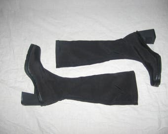 Vintage Kenneth Cole Reaction Black Fabric Club Kid Mod Style Grunge Goth Punk Pull On Chunky Platform High Heel Thigh High Stretch Boots 6
