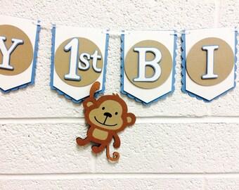 Monkey First Birthday Banner! Happy 1st Birthday! Blue, Tan, and White