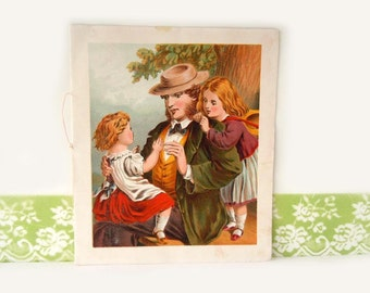Antique Father Wall Hanging Book Plate Picture Childrens Book 1800s
