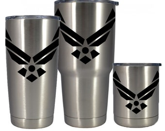Stainless vacuum insulated cup 10,  20 or 30 oz laser marked Air Force logo. Free personalization! Other colors available. Mug, Tumbler