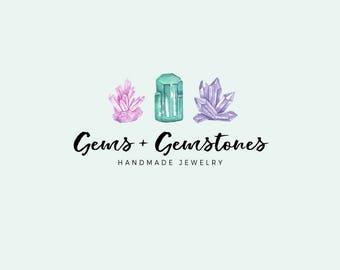 Gemstones logo - Premade logo design - Gems and crystals - Jewelry shop logo - Small business logo - watercolor logo - Bohemian logo