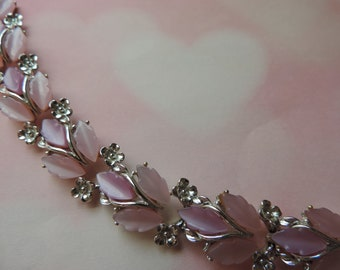 pink thermoset bracelet 1950s moon glow leaf silver floral vintage jewelry