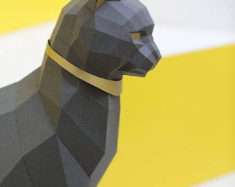 Black Cat Papercraft kit, PREMIUM Version with gold applications. Egypt Cat Goddess Bastet