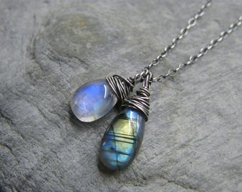 Labradorite necklace ~ Moonstone necklace ~ Moonstone and labradorite pendant necklace ~ Blue moonstone pendant ~ Labradorite pendant ~