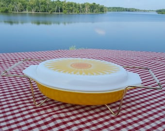 Vintage Pyrex Sunflower Divided Dish with lid and carrier